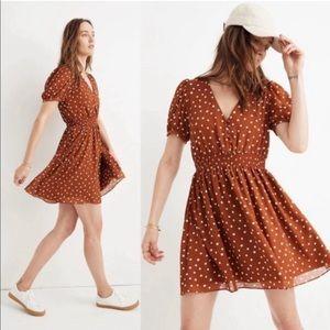NEW Madewell Smocked Waist Mini Dress Inkspot Polka Dot Brown Rust NWOT Medium
